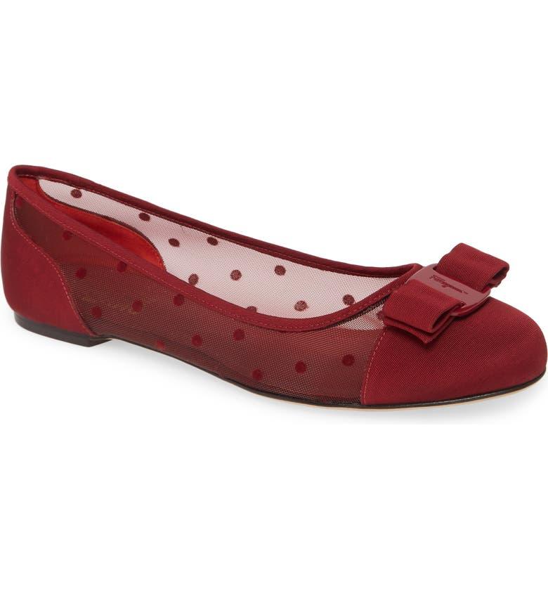 SALVATORE FERRAGAMO Varina Dots Mesh Loafer, Main, color, RED CHILE