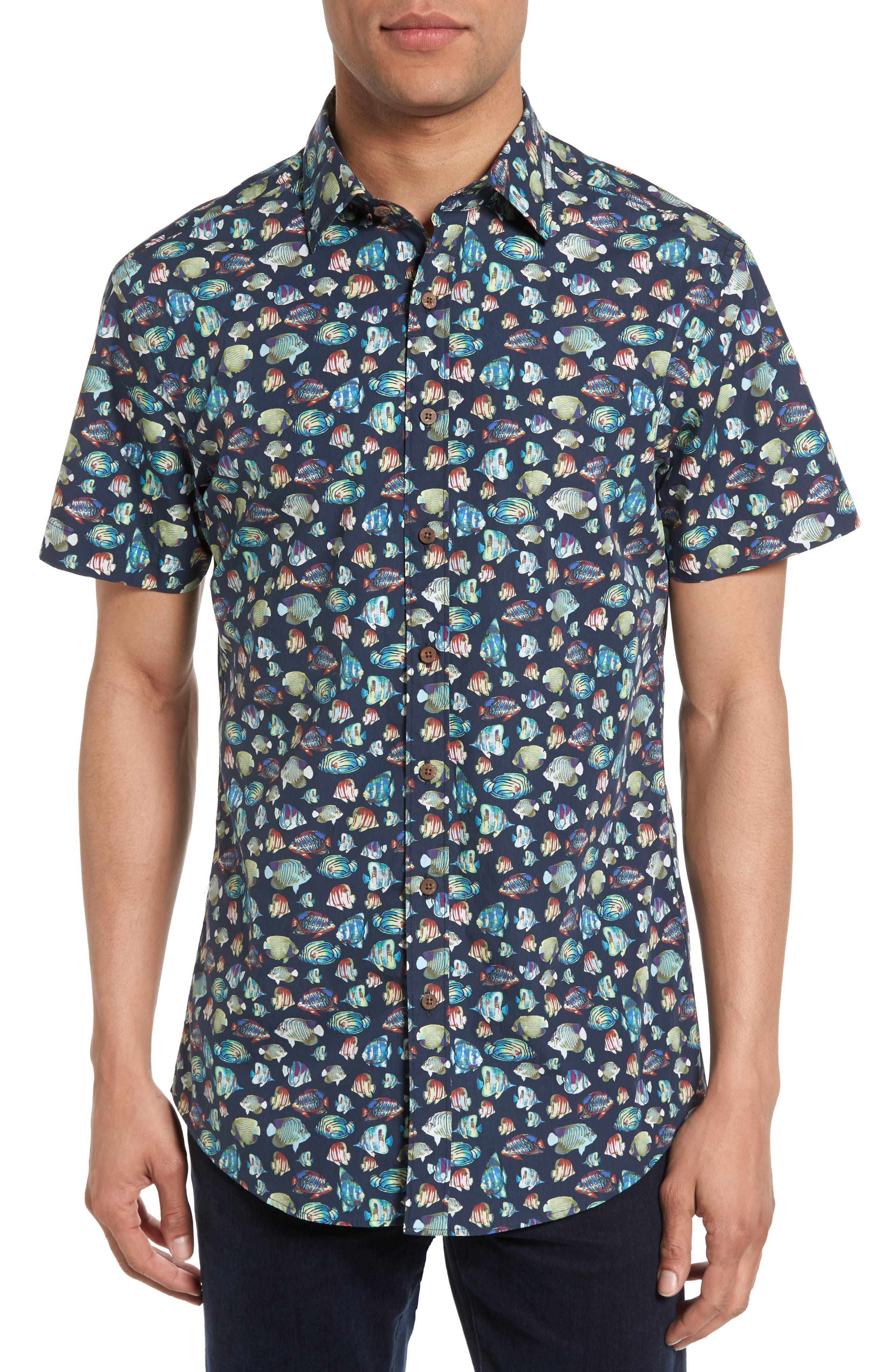 Image of RODD AND GUNN Hawkdune Fish Print Short Sleeve Regular Fit Shirt
