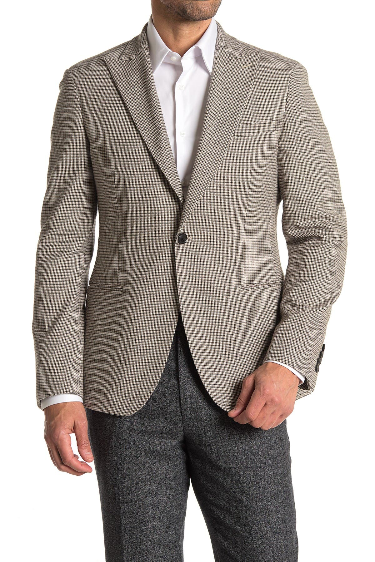 Image of REISS Butler Brown Micro Tatters Two Button Peak Lapel Suit Separates Blazer