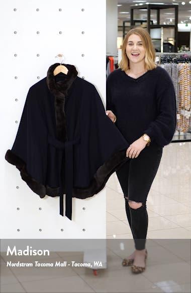 Wool Blend Cape Coat with Faux Fur Trim, sales video thumbnail