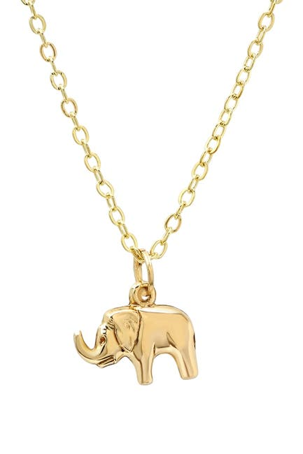 Image of Best Silver Inc. 14K Yellow Gold Elephant Pendant Necklace