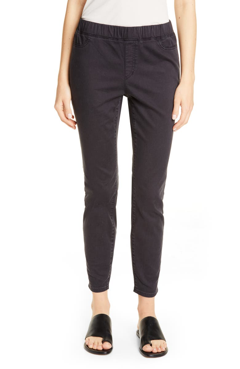 EILEEN FISHER Stretch Organic Cotton Denim Skinny Pants, Main, color, WASHED BLACK