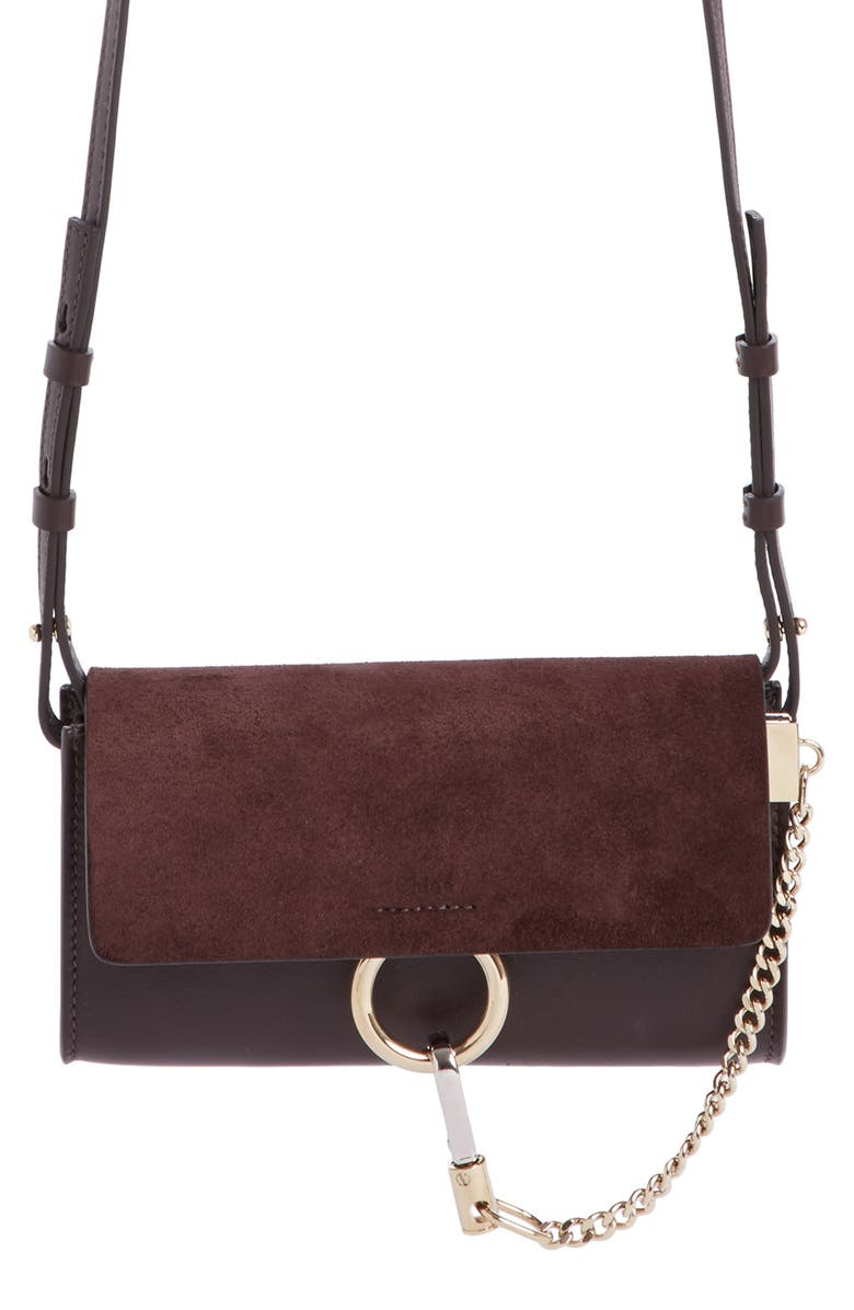 CHLOÉ Mini Faye Suede & Leather Wallet on a Chain, Main, color, 209