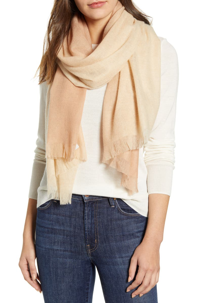 NORDSTROM Dip Dye Cashmere Scarf, Main, color, TAN COMBO