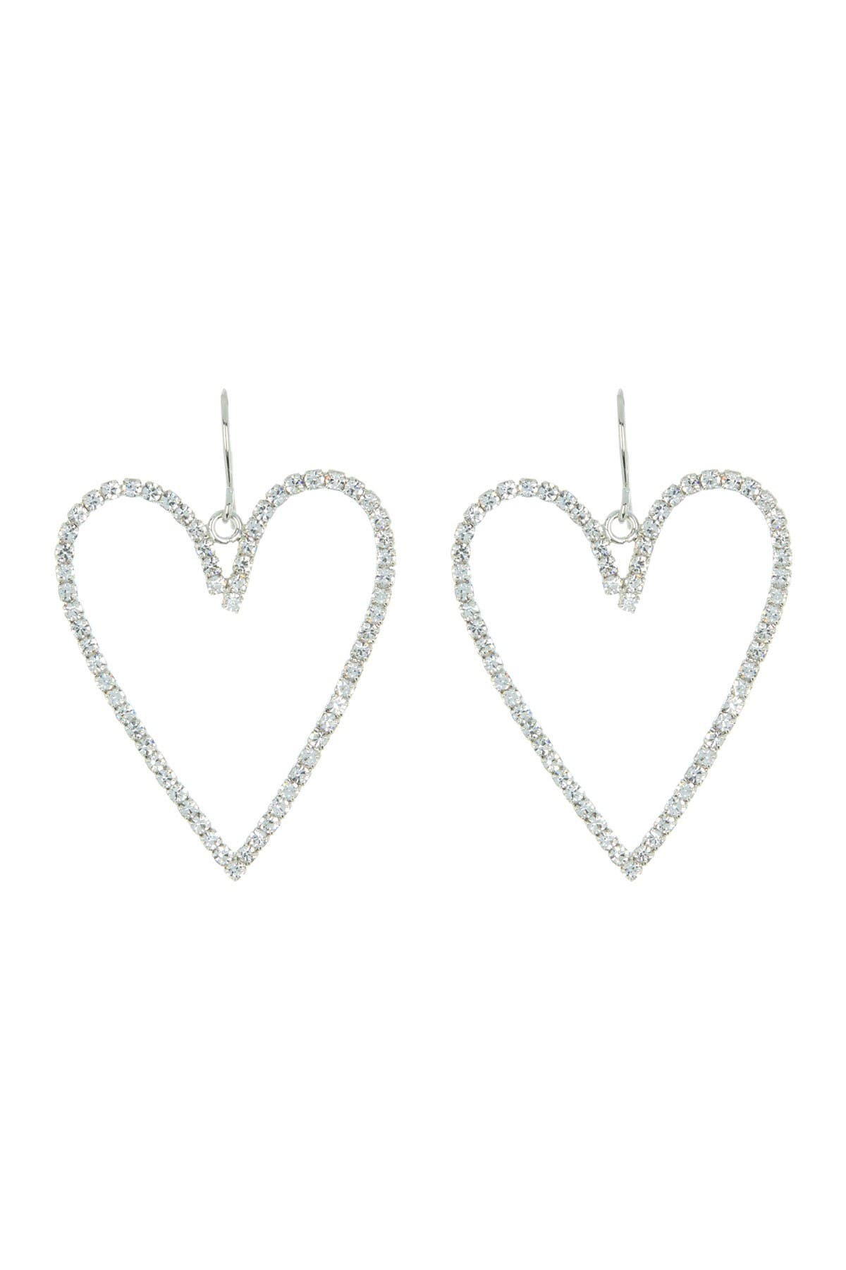 Image of CRISTABELLE Pave Crystal Open Heart Drop Earrings