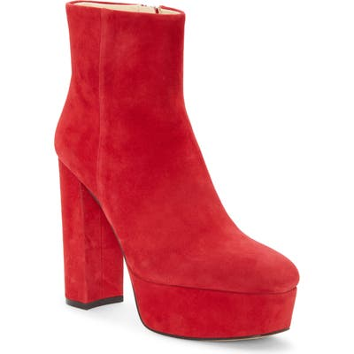 Vince Camuto Leslieon Square Toe Platform Boot, Red