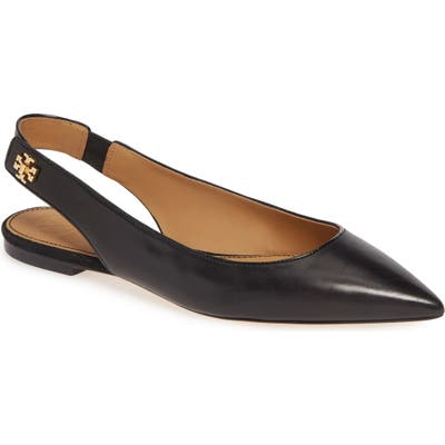 Tory Burch Kira Slingback Pointy Toe Flat- Black