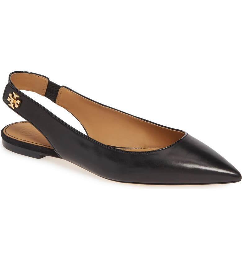 TORY BURCH Kira Slingback Pointy Toe Flat, Main, color, PERFECT BLACK/ PERFECT BLACK