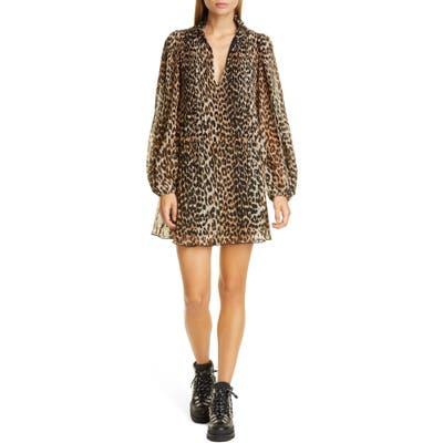Ganni Leopard Print Pleated Georgette Long Sleeve Minidress, Brown