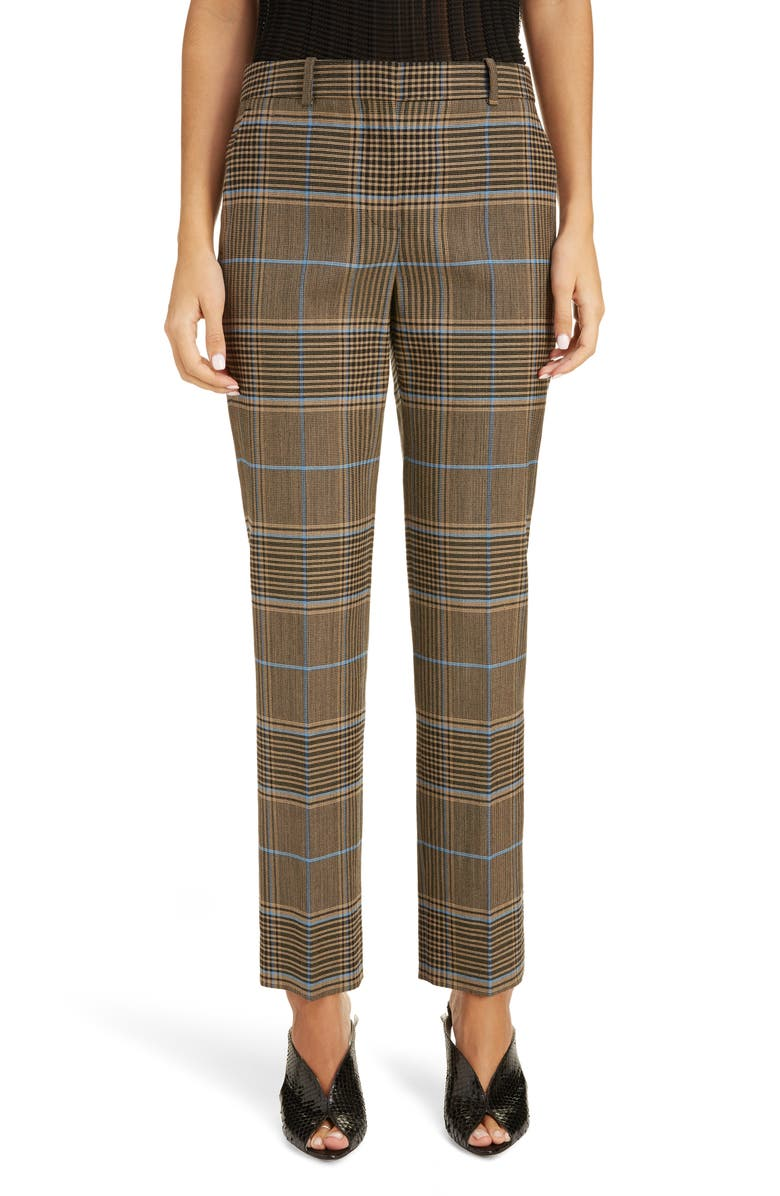 GIVENCHY Check Wool Pants, Main, color, BLUE/ BEIGE