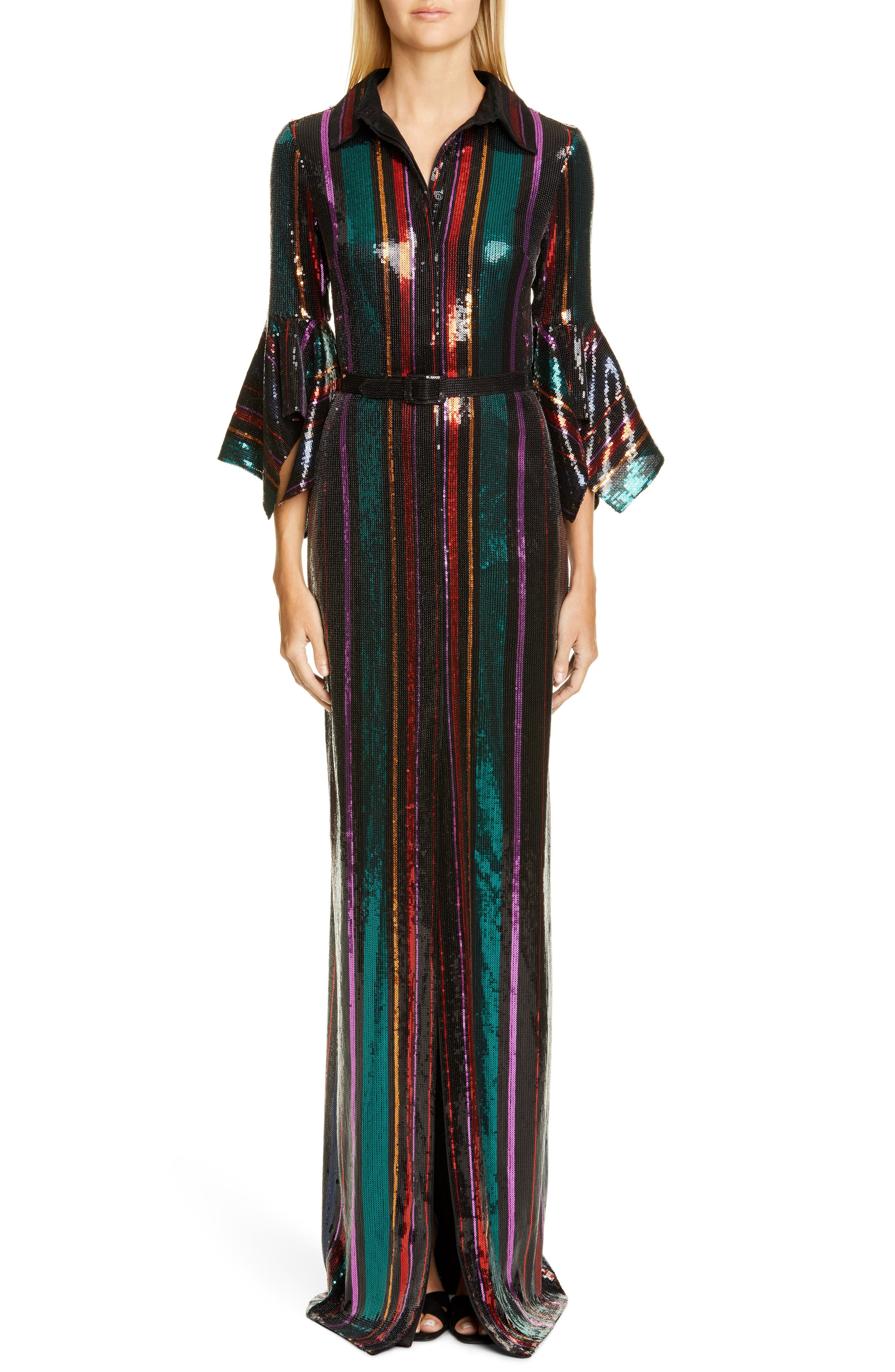 70s Prom, Formal, Evening, Party Dresses Womens Badgley Mischka Sequin Stripe Gown Size 6 - Black $950.00 AT vintagedancer.com