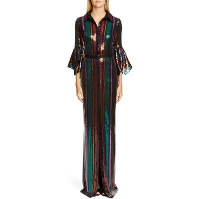 Badgley Mischka Sequin Stripe Gown, Black