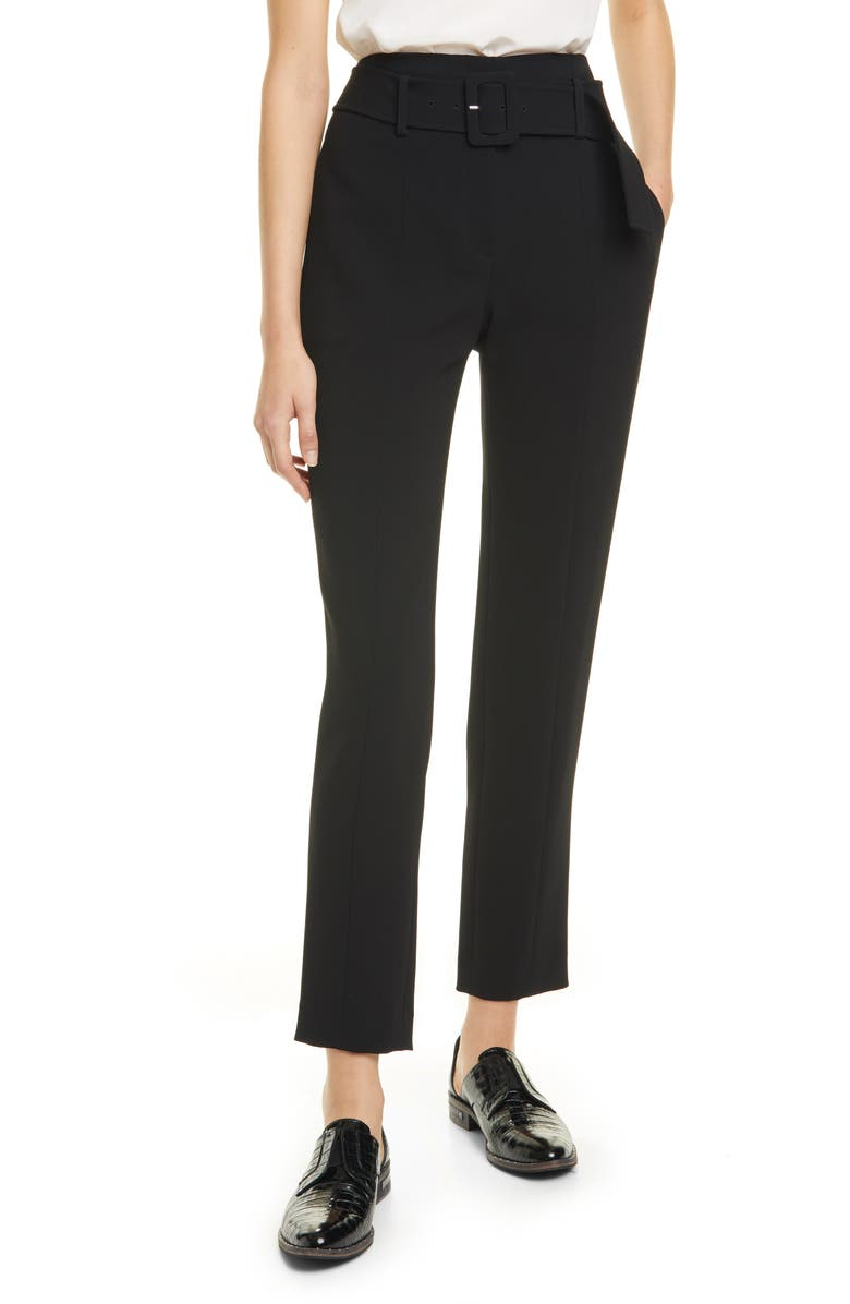 THEORY Belted Cigarette Pants, Main, color, BLACK