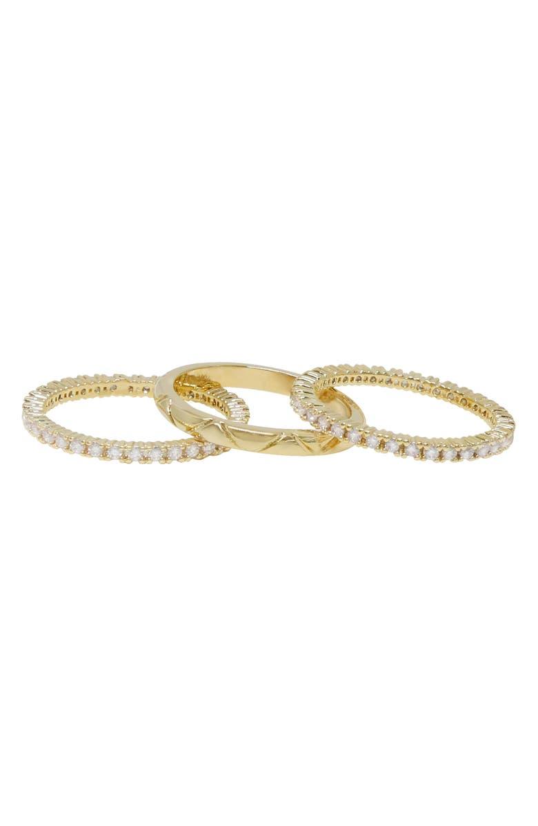 ETTIKA Set of 3 Stacking Rings, Main, color, GOLD