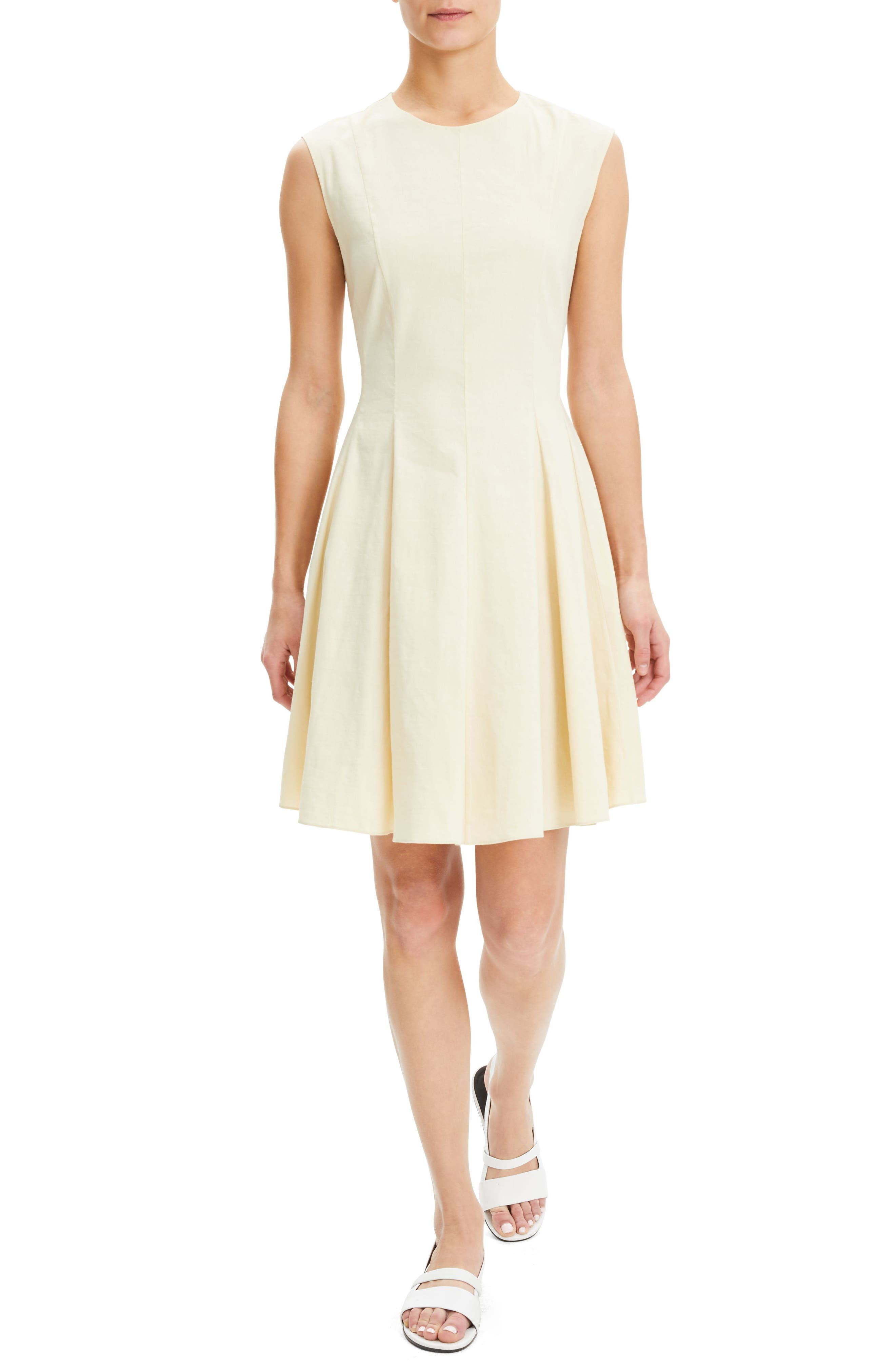 Theory Sleeveless Linen Blend Fit & Flare Dress, Beige