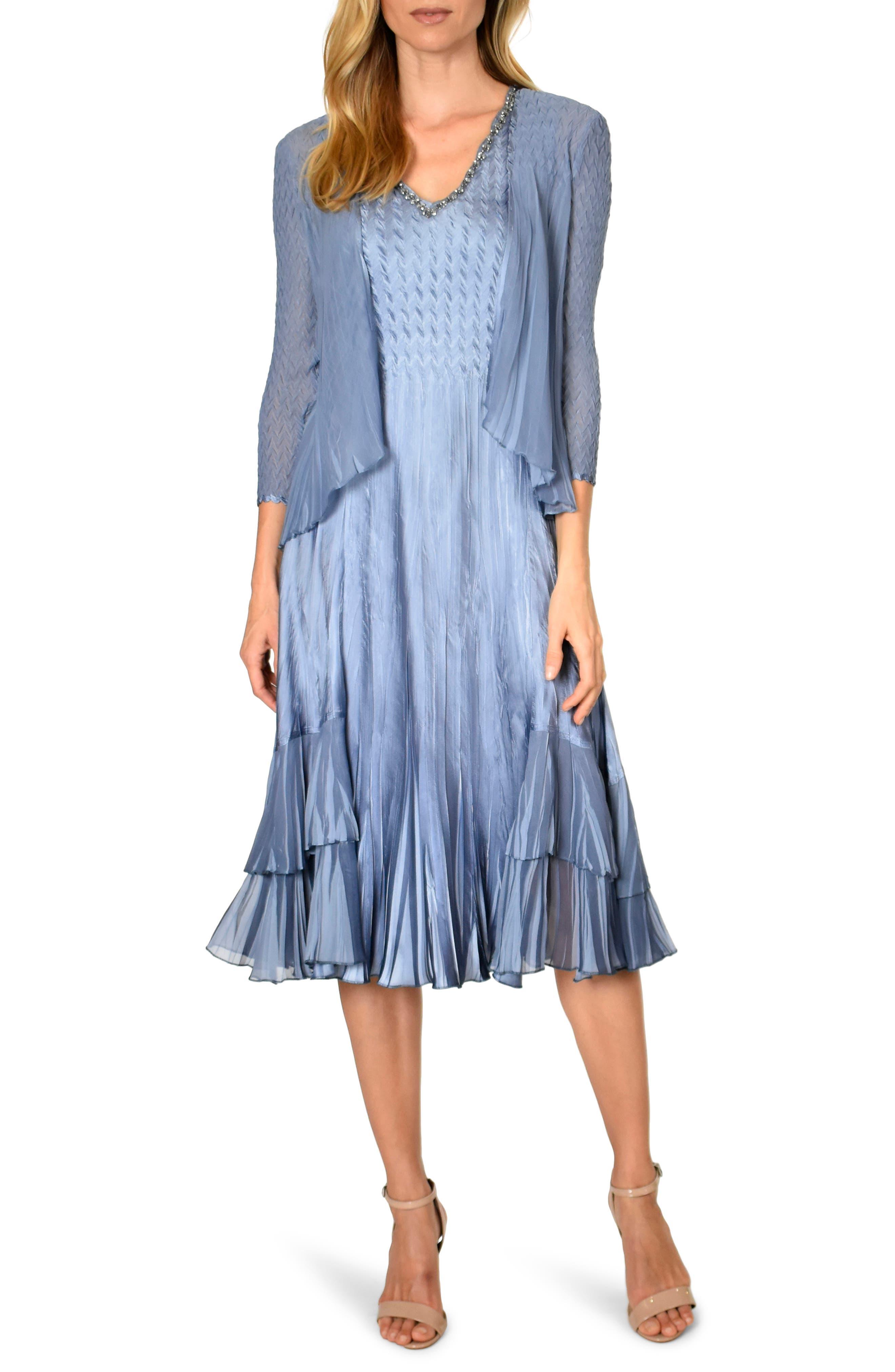 Vintage 1920s Dresses – Where to Buy Womens Komarov Beaded Neck Tiered Hem Charmeuse Dress  Jacket $438.00 AT vintagedancer.com