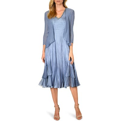 Komarov Beaded V-Neck Charmeuse Dress With Chiffon Jacket, Blue
