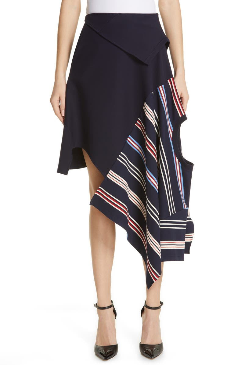MONSE Deconstructed Stripe Skirt, Main, color, NAVY MULTI