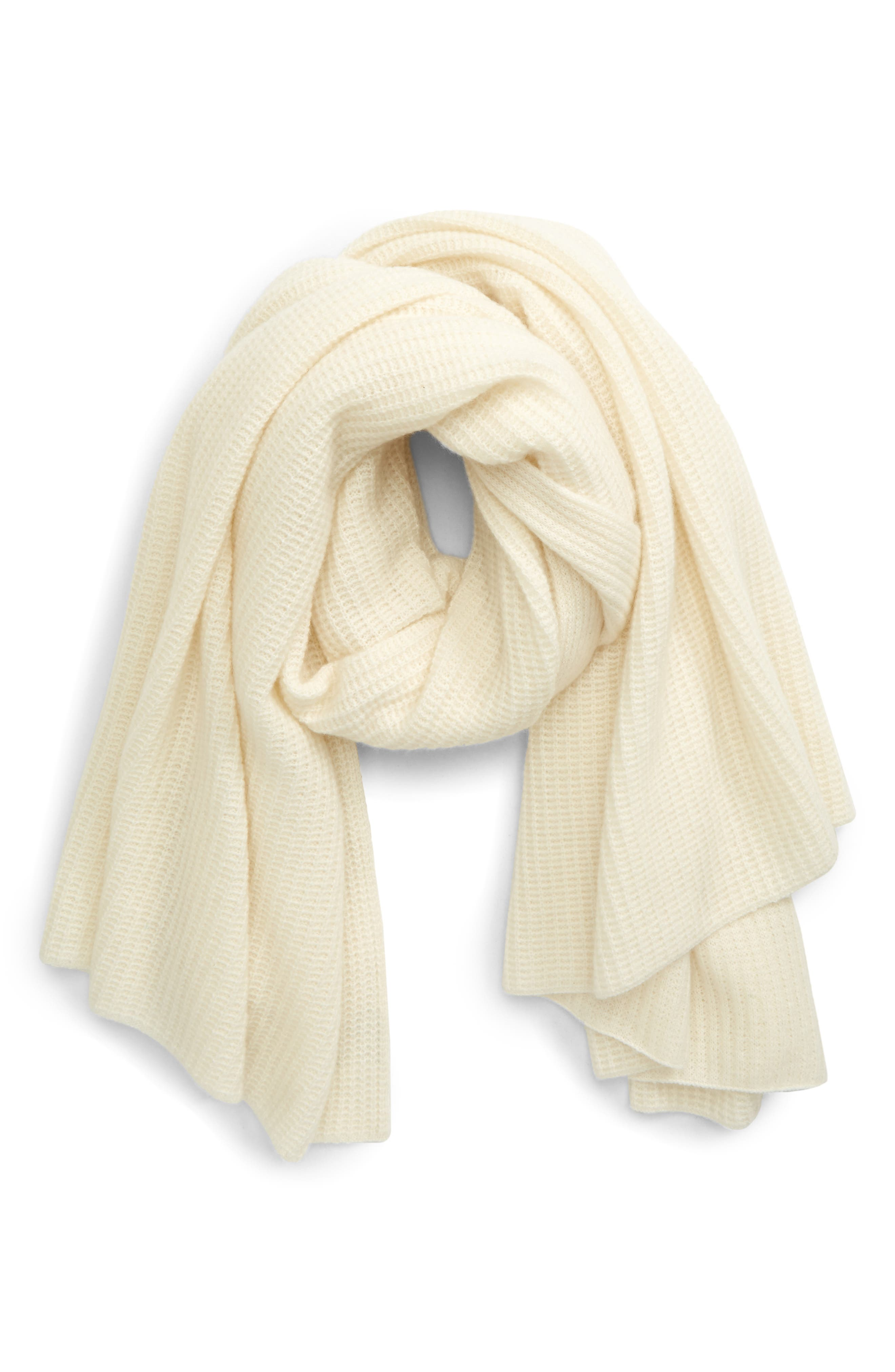 Luxe cashmere elevates a wardrobe-staple knit scarf that doubles its textures with soft ribbing on one side and a classic waffle stitch on the other. Style Name: Halogen Textured Cashmere Scarf. Style Number: 6018089. Available in stores.