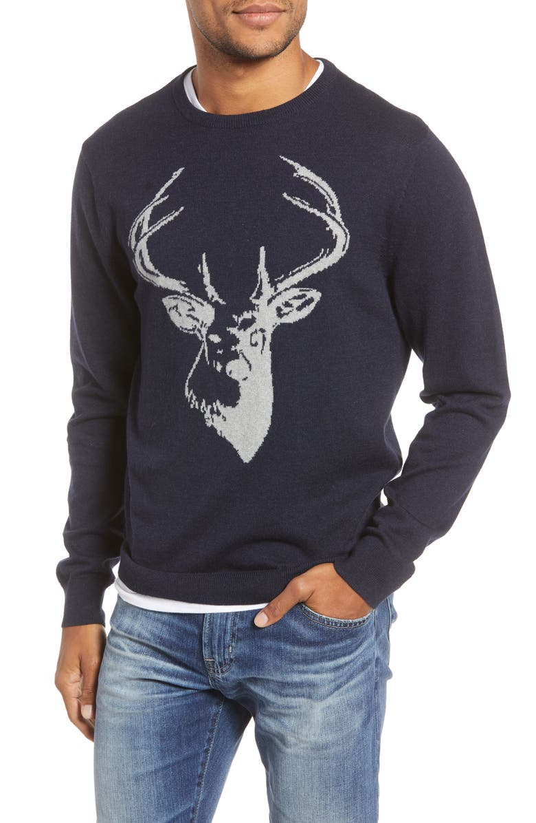 1901 Stag Cotton & Cashmere Sweater, Main, color, NAVY IRIS STAG