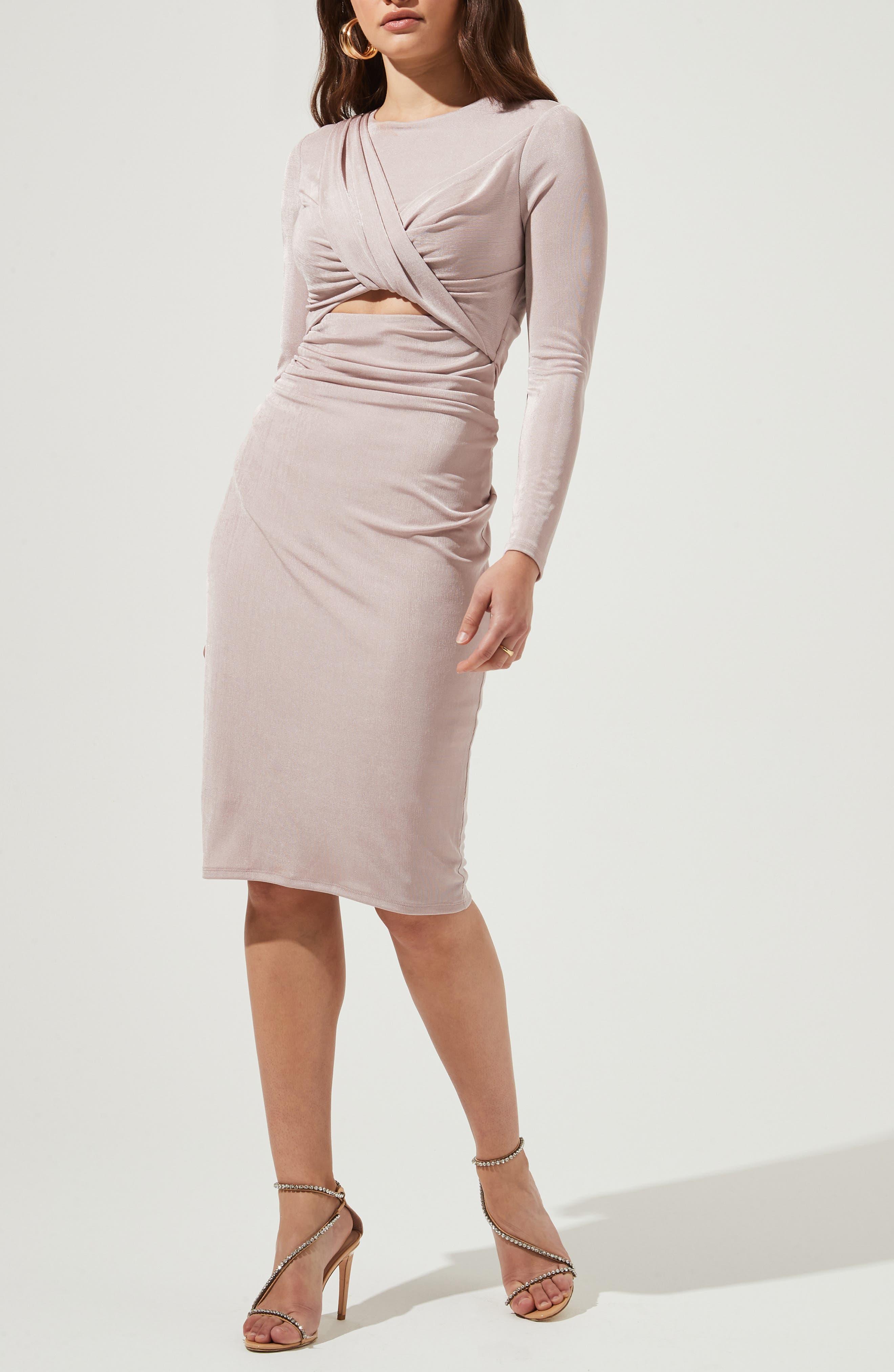 Twist Front Long Sleeve Dress