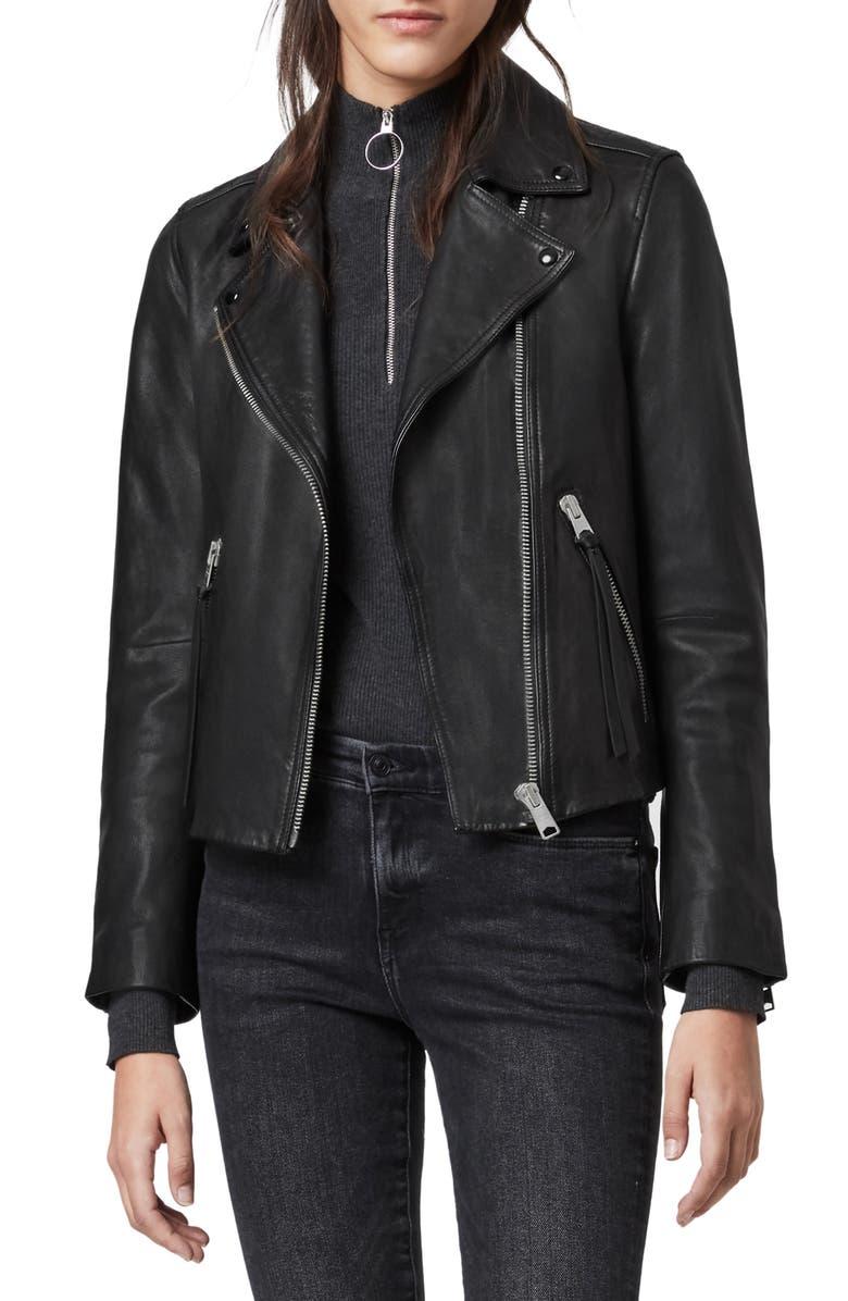 ALLSAINTS Dalby Leather Biker Jacket, Main, color, BLACK
