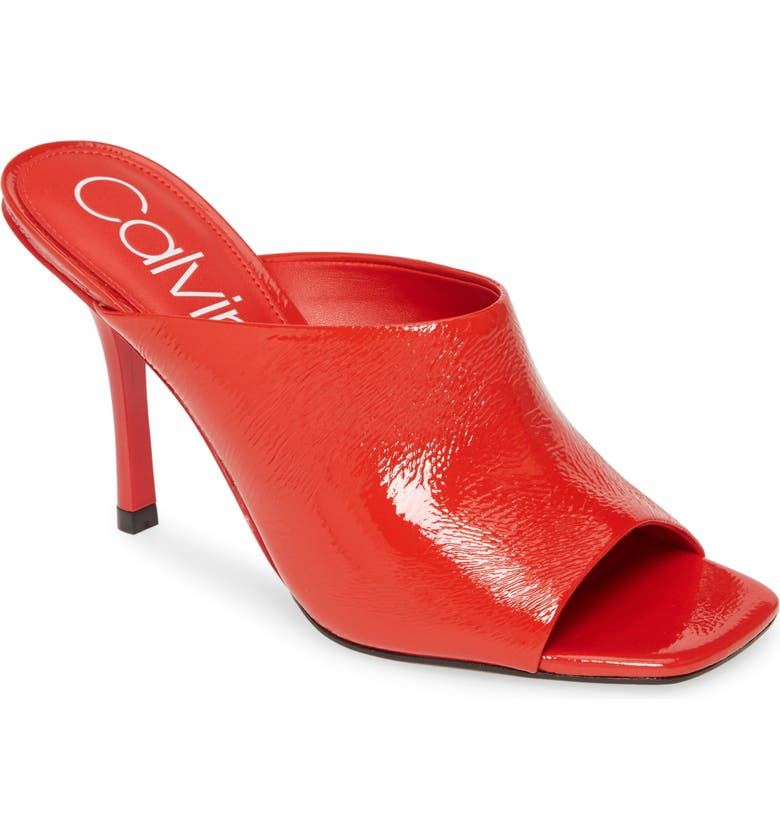 CALVIN KLEIN Matos Sandal, Main, color, RED PATENT LEATHER