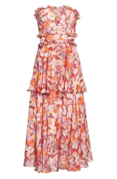 f7d6d53c989 AMUR Darla Floral Print Silk Midi Dress