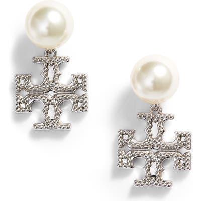 Tory Burch Imitation Pearl Milgrain Drop Earrings