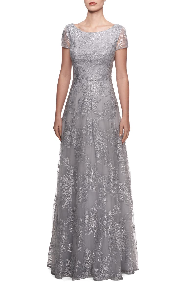 LA FEMME Sequin Floral Embroidered Gown, Main, color, SILVER
