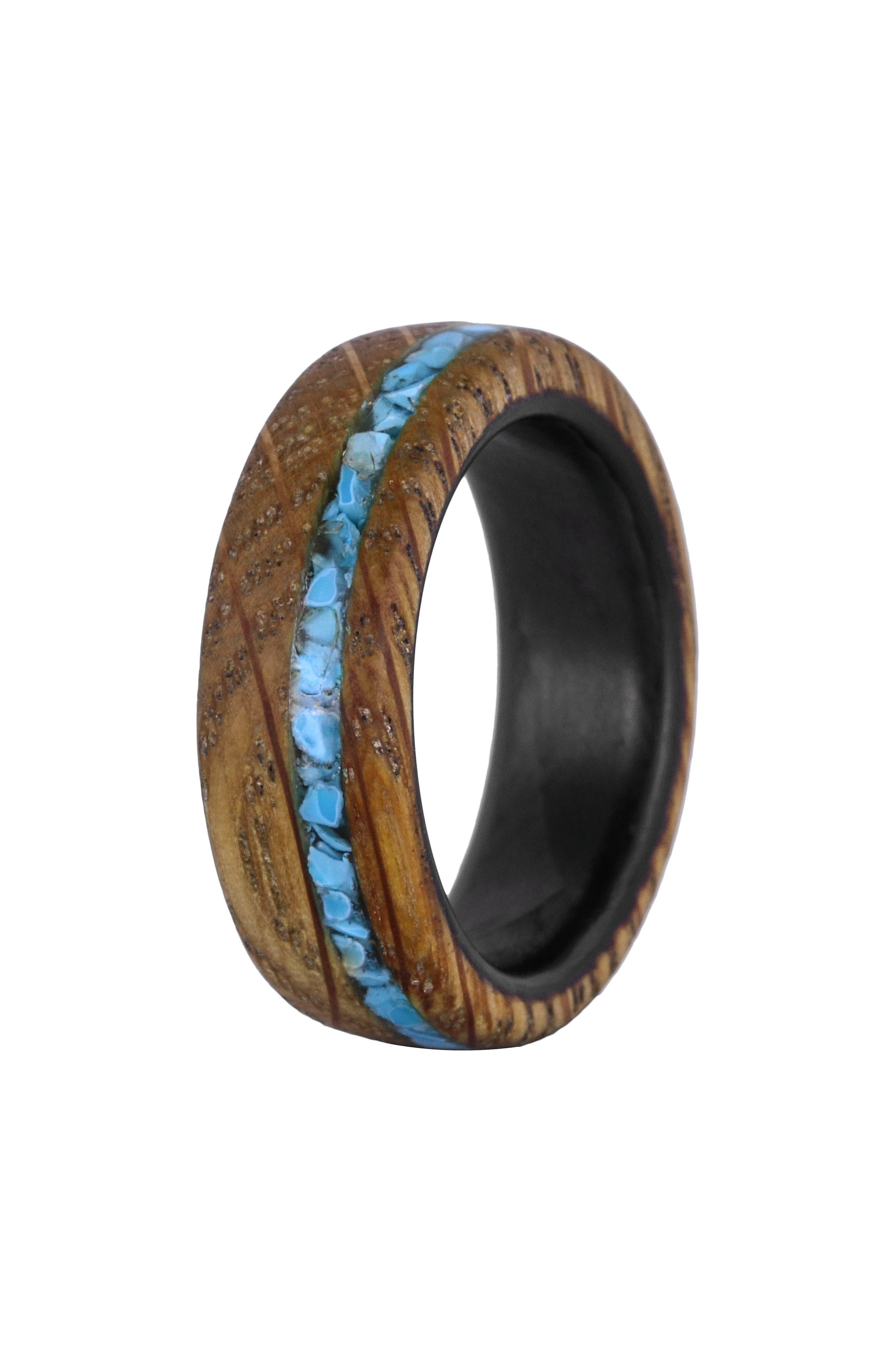 Whiskey Barrel Wood & Turquoise Ring