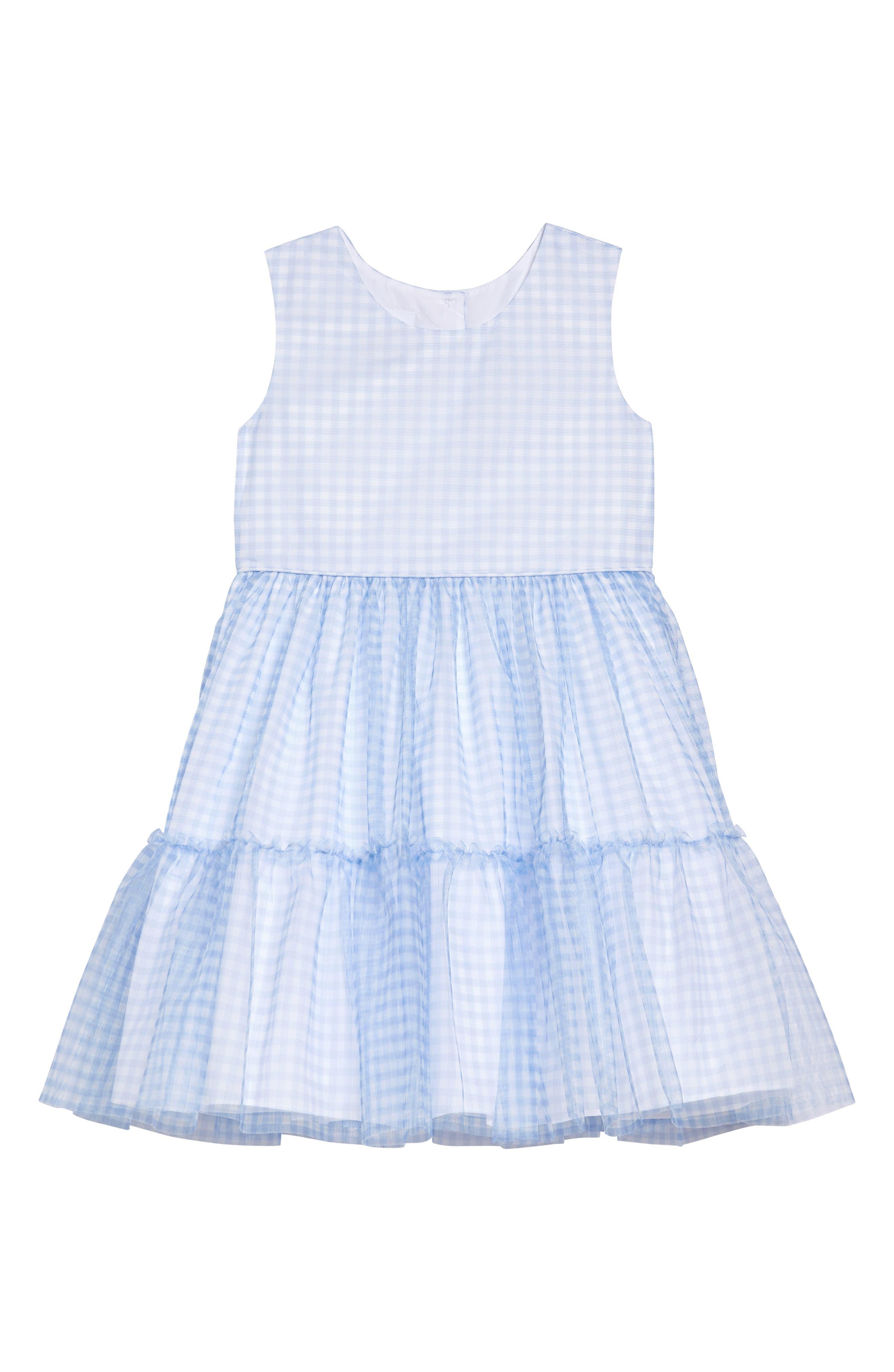Toddler Girls Frais Check Mesh Ruffle Dress Size 2T  Blue