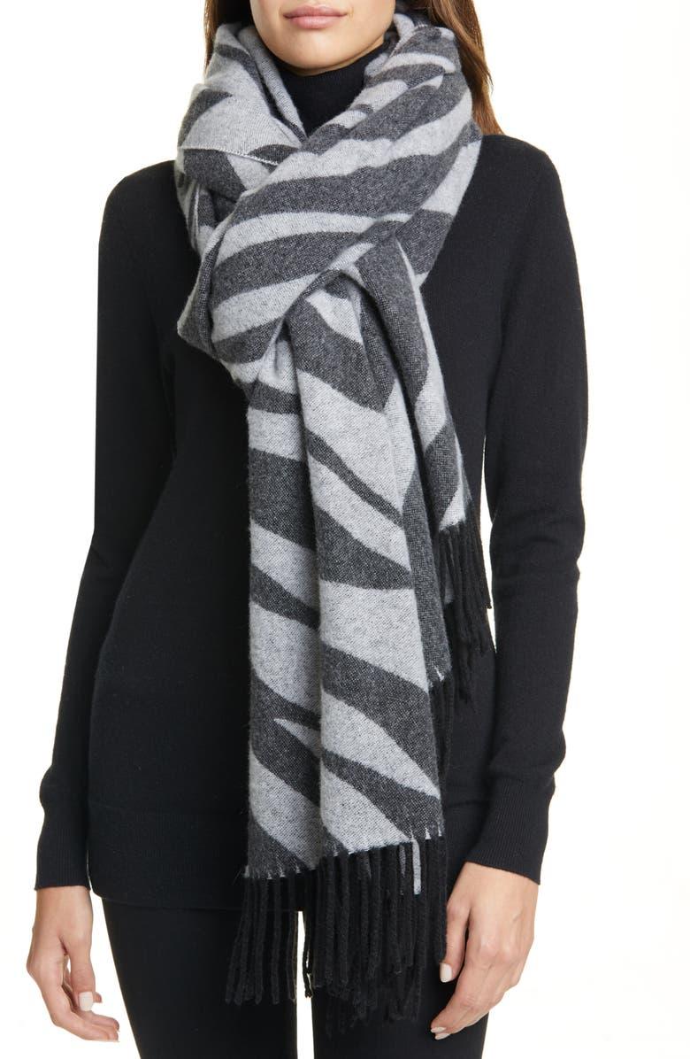 RAG & BONE Oversize Zebra Pattern Wool Blend Scarf, Main, color, BLKWHT