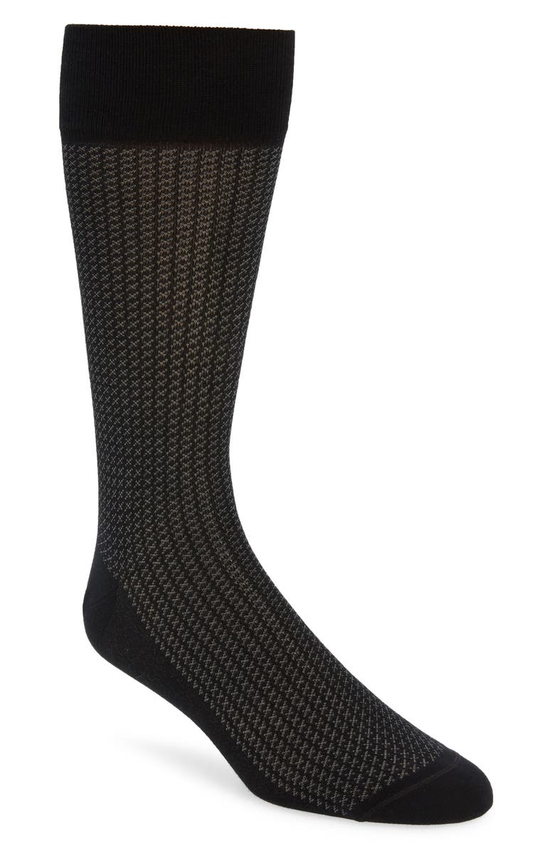 NORDSTROM SIGNATURE Supima<sup>®</sup> Cotton Blend Dress Socks, Main, color, BLACK/ GREY