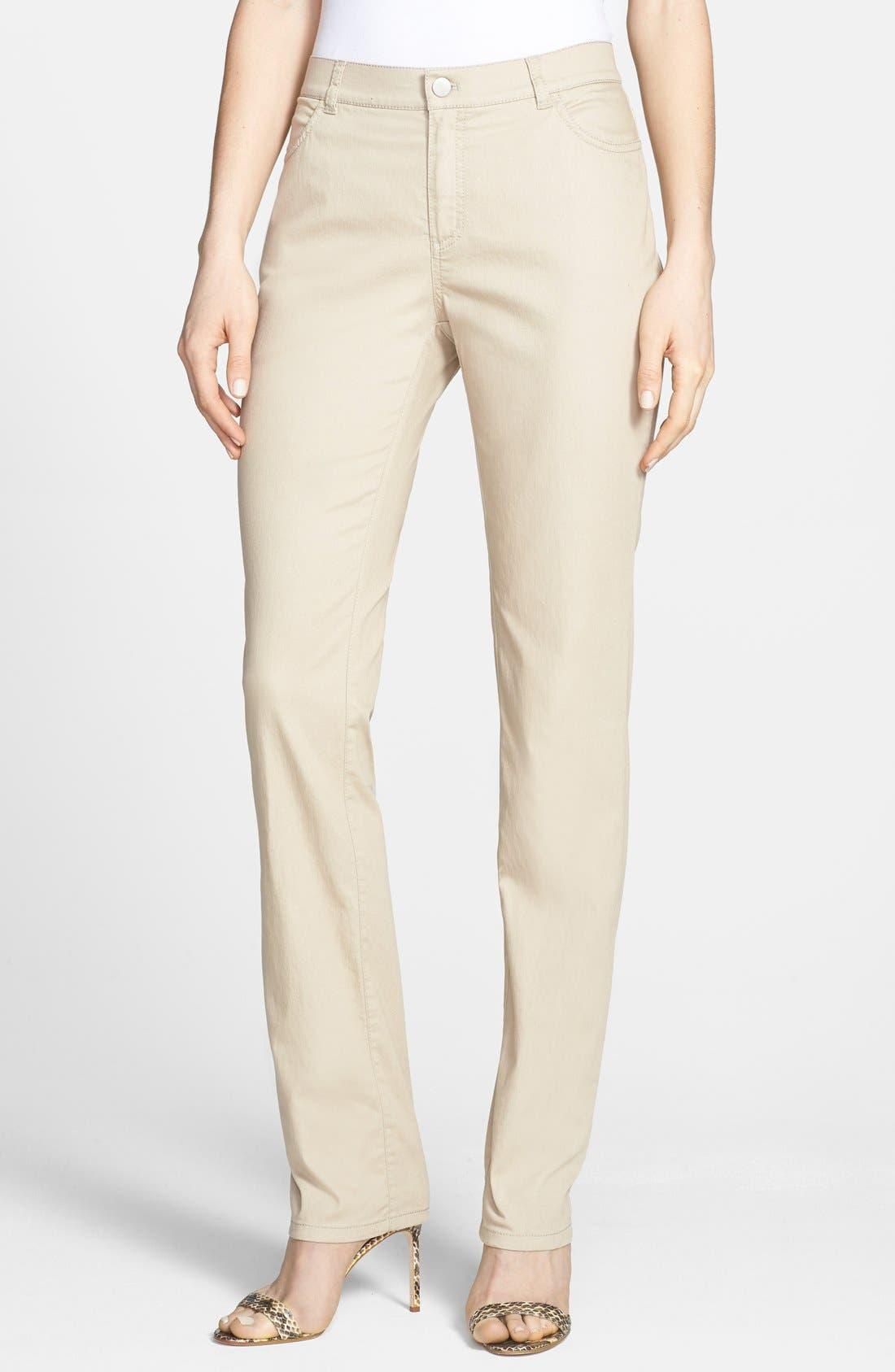 Women's Lafayette 148 New York 'Primo Denim' Curvy Fit Slim Leg Jeans,  18 (similar to 16W) - Beige