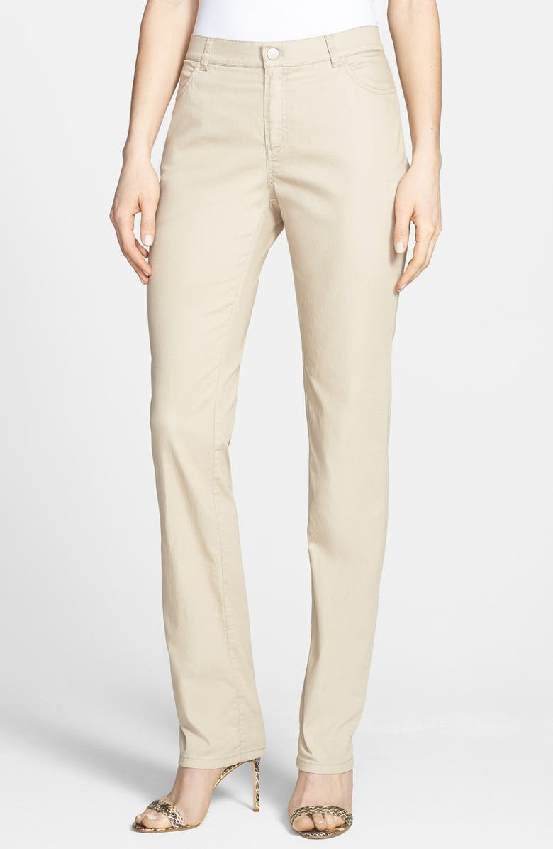 LAFAYETTE 148 NEW YORK 'Primo Denim' Curvy Fit Slim Leg Jeans, Main, color, KHAKI