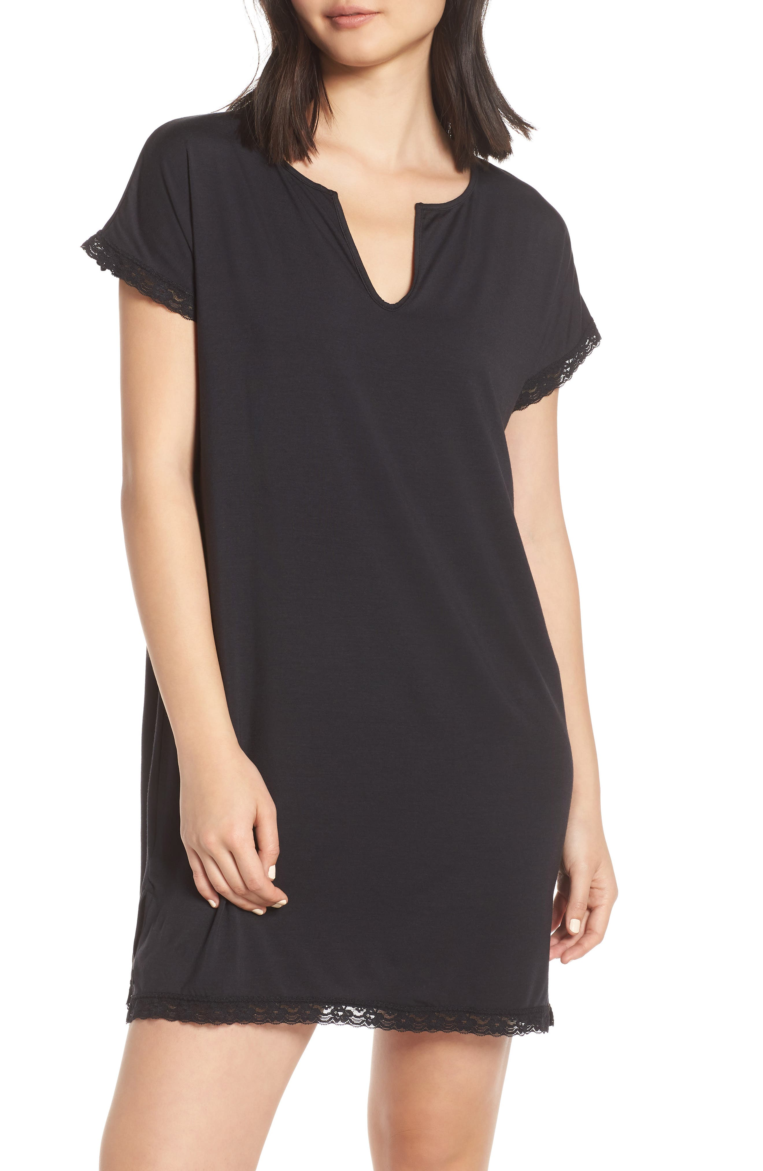Barefoot Dreams Luxe Jersey Nightgown, Black