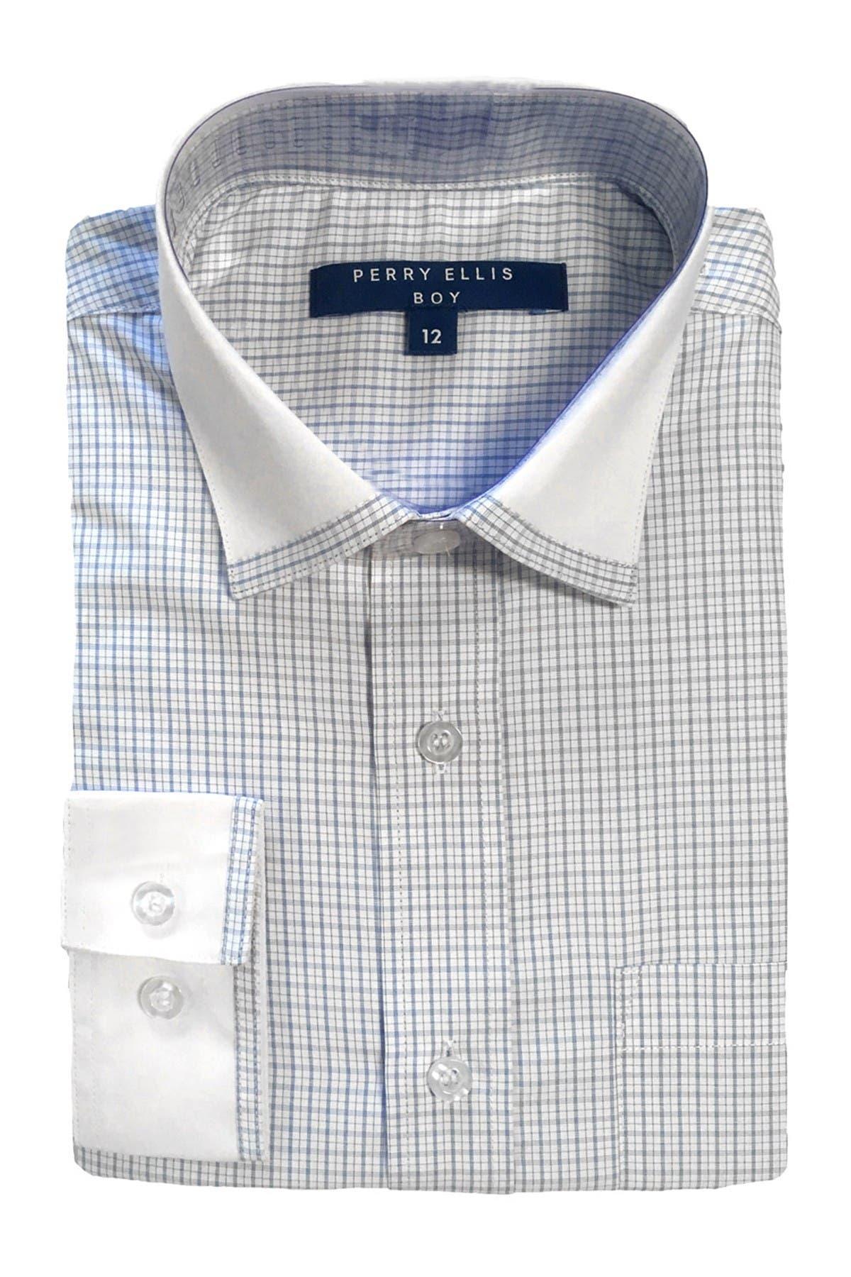 Image of Perry Ellis Contrast Collar Grid Print Dress Shirt