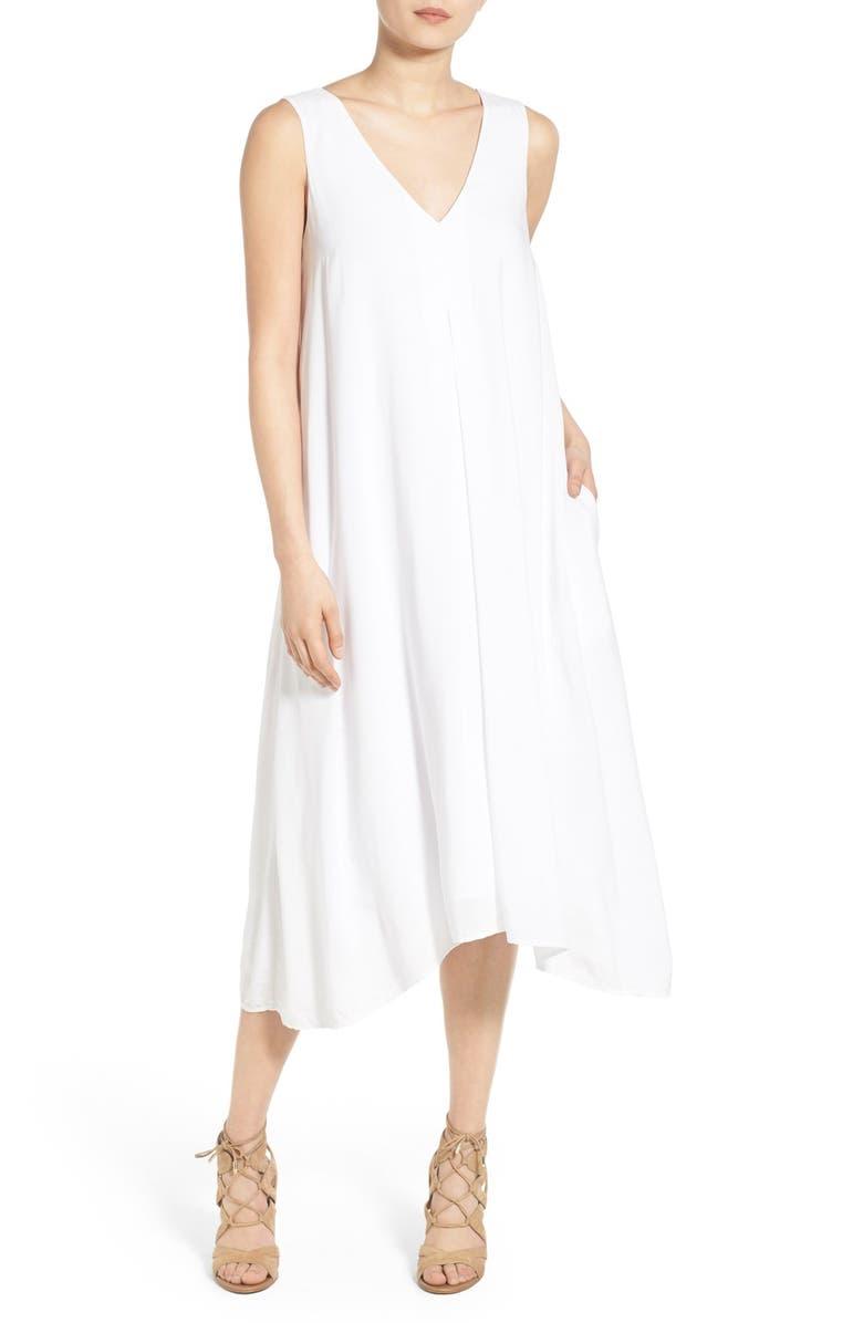 JAMES PERSE Double V-Neck Midi Dress, Main, color, White