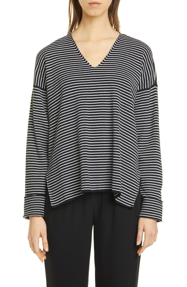 EILEEN FISHER Stripe V-Neck Box Top Sweater, Main, color, BLACK/ WHITE