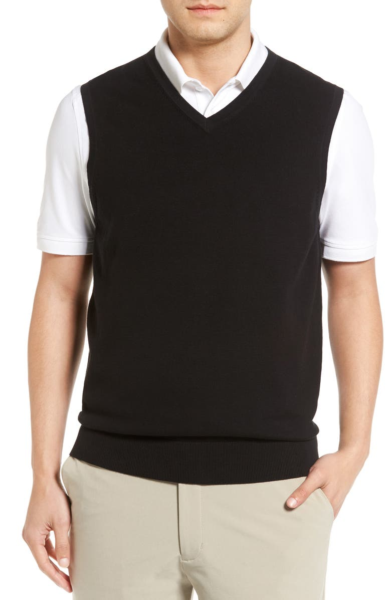 CUTTER & BUCK Lakemont V-Neck Sweater Vest, Main, color, BLACK