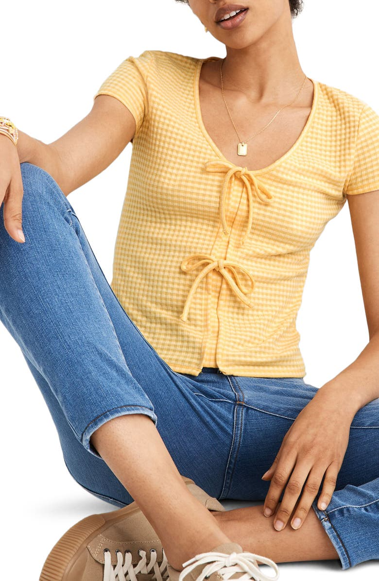 MADEWELL Gingham Bow Front Top, Main, color, CORN HUSK