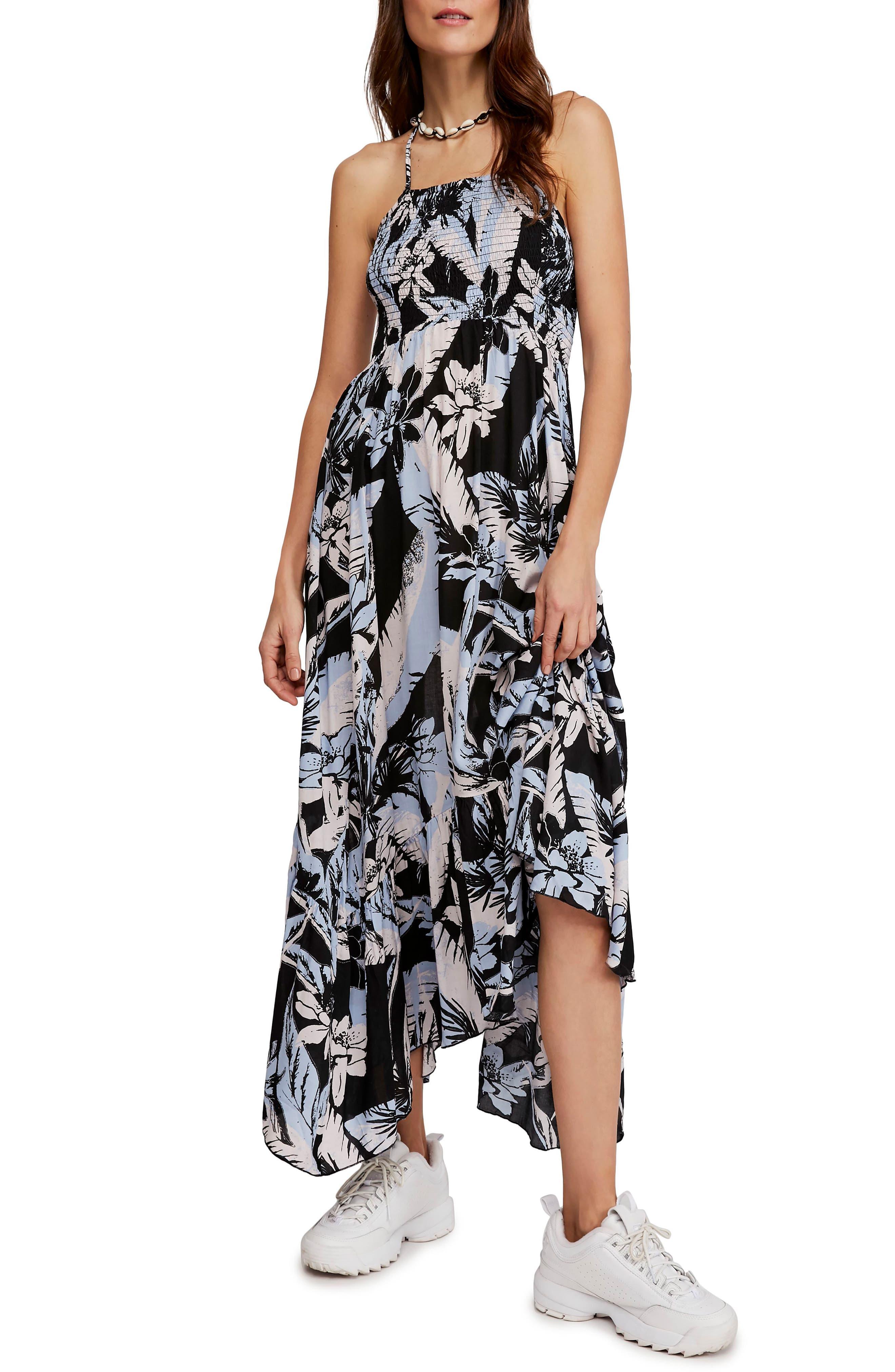 Free People Heat Wave Floral Print High/low Dress, Black