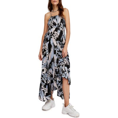 Free People Heat Wave Floral Print High/low Dress, Black