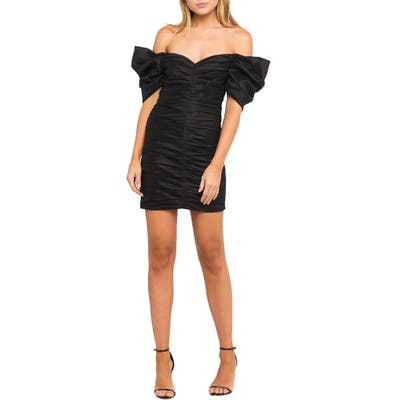 Bardot Issey Off The Shoulder Ruched Minidress, Black