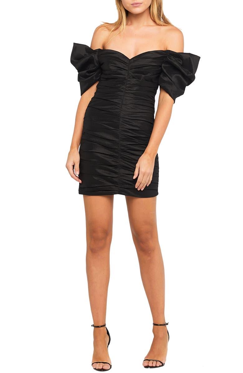 BARDOT Issey Off the Shoulder Ruched Minidress, Main, color, BLACK