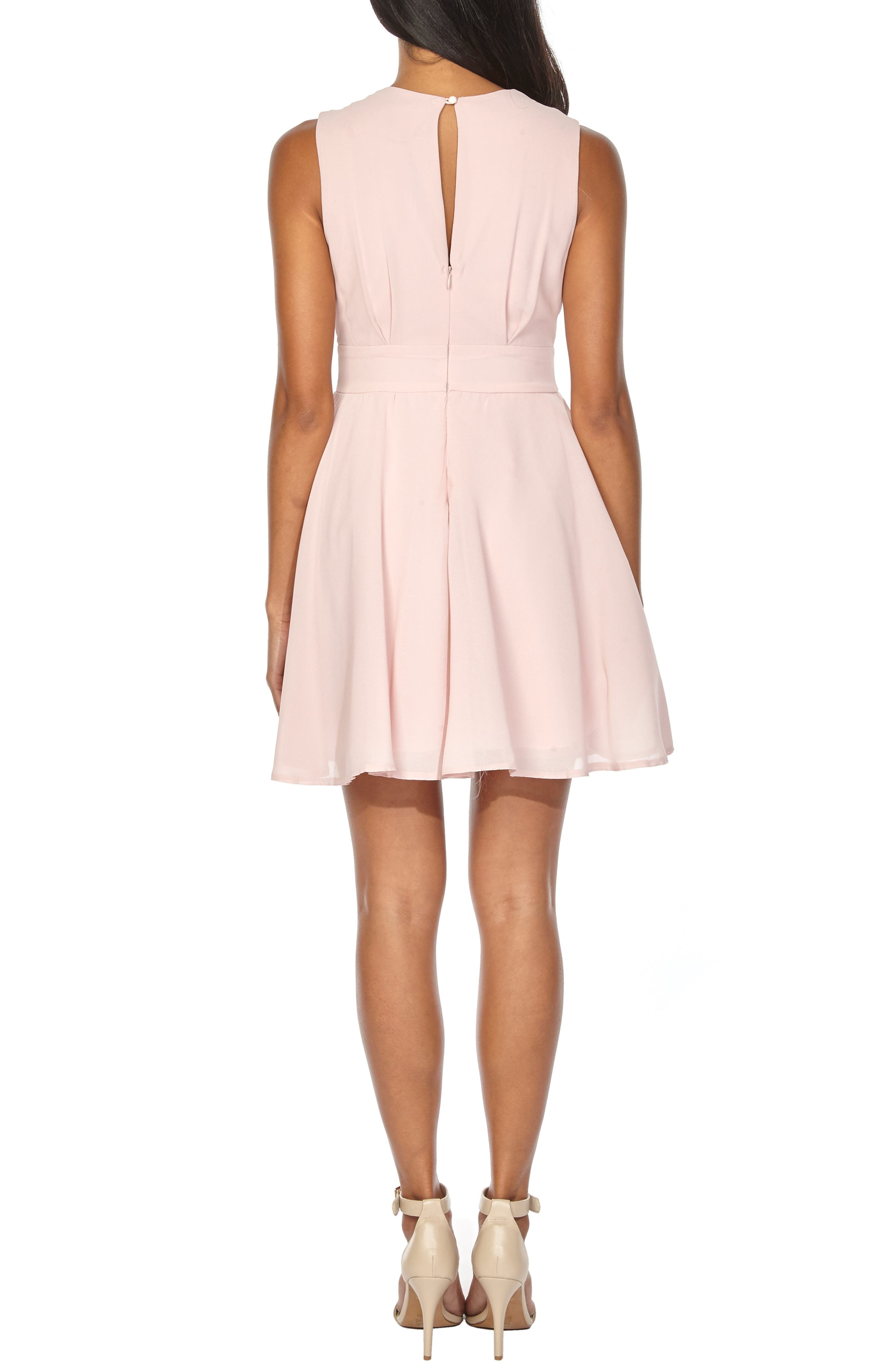 ,                             V-Neck Fit & Flare Dress,                             Alternate thumbnail 2, color,                             DUSTY PINK