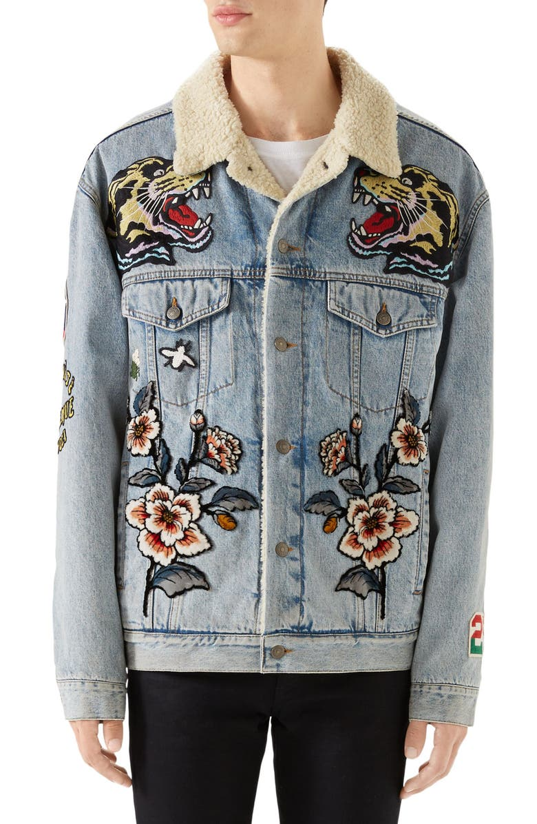 GUCCI Fleece Lined Embroidered Denim Jacket, Main, color, 454