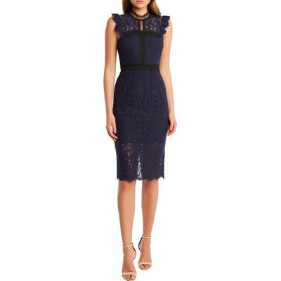 Bardot Latoya Lace Body-Con Dress, Blue