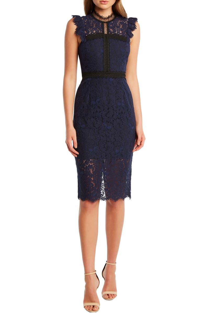 BARDOT Latoya Lace Body-Con Dress, Main, color, NAVY